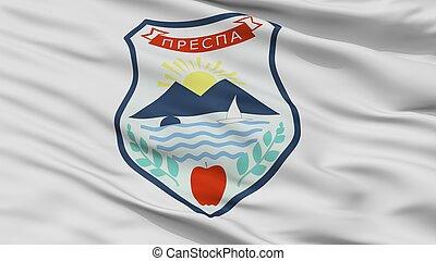 resen, municipality, cidade, bandeira, macedonia, closeup,...