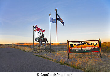 reservación, blackfeet, indios