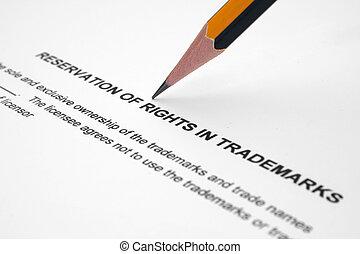 reservación, de, derechos, en, trademarks