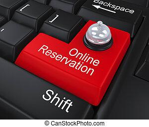 reservación, en línea, llave, entrar