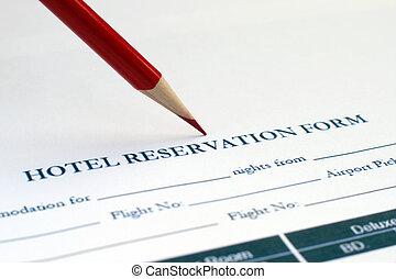 reservación, hotel, forma