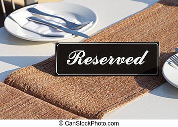 reservatie, concept, restaurant