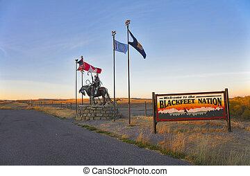 Reservation blackfeet Indians - Entrance in reservation...