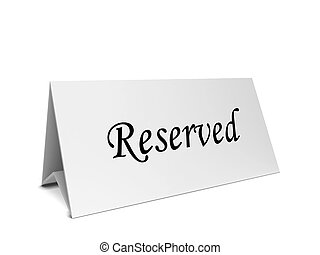 Reservation card long tent. 3d illustration isolated on...