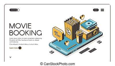 reservation, filmen, side, landgangen, underholdning, banner