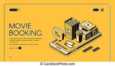 reservation, side, banner, filmen, landgangen, underholdning