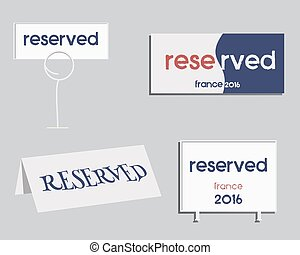 Reservation sign. France 2016 Football design. The national colors of France. Isolated on bright background. Vector