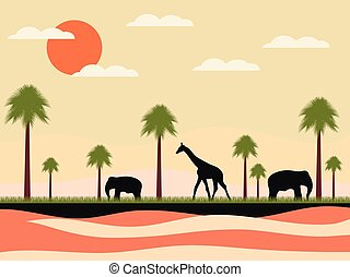 Reserve, africa landscape with animals. Giraffe and elephants, palms. Wild nature. Vector illustration