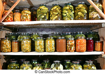 Reserve - An image of bottles with vegetable in rows