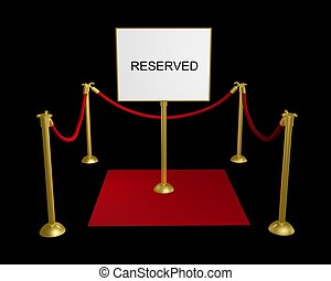Reserved area - 3D illustration of a roped off area with a ...