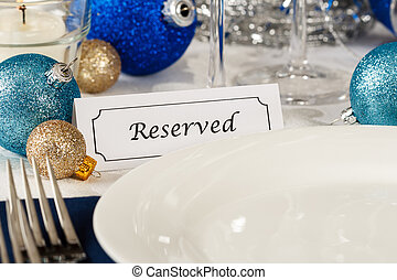 Reserved Holiday Table Setting - Close up view of a holiday ...