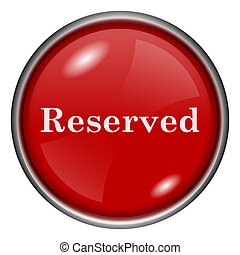 Reserved icon - Red shiny glossy icon on white background