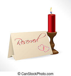 Reserved note with hearts and candle