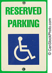 Reserved Parking sign, close up