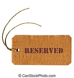 reserved price tag label with string
