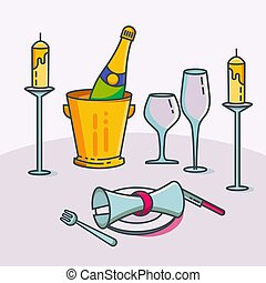 Reserved restaurant table with tablecloth, candles in candlestick, plant, wineglasses, champagne wine and cutlery vector illustration. Reservation table in restaurant or cafe.