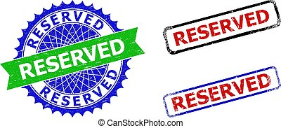 RESERVED Rosette and Rectangle Bicolor Seals with Corroded Surfaces