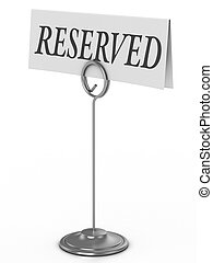 reserved sign isolated over white 3d Illustration