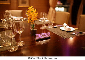Reserved table in restaurant