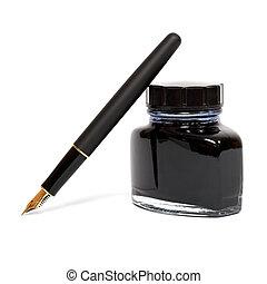 reservoarpenna, med, bläck, flaska