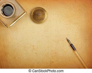 reservoarpenna, och, bläckhorn, och, gammal, papper