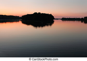 Reservoir after sunset