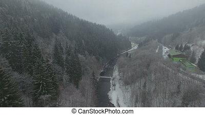 Reservoir and bridge, Spindler Mill - Aerial: The reservoir...