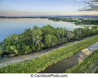 reservoir and irrigation ditch in Colorado