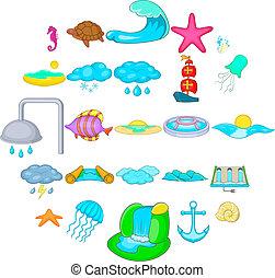 Reservoir icons set, cartoon style - Reservoir icons set....