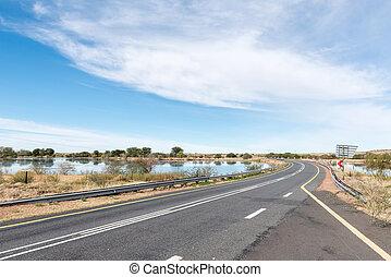 reservoir, neben, der, orange fluß, bei, groblershoop