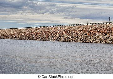 reservoir rock dam - rock dam with highway - Horsetooth ...