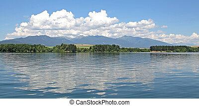 Reservoir - Water reflection on reservoir Liptovska Mara, ...
