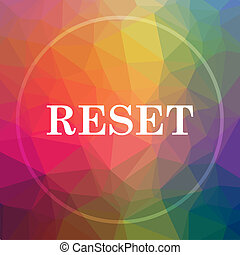 Reset icon. Reset website button on low poly background.