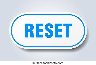 reset sign. rounded isolated sticker. white button