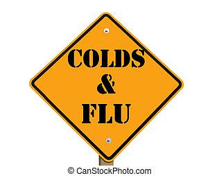 resfriados, advertencia, gripe, señal