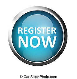 Blue button with chrome frame over white background. Register now