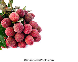 resh of litchi fruit and copy space isolated on white background