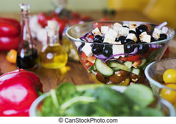 resh salad with tomato, olives, pepper and other vegetables