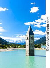resia, itália, tirol, sunken, lago, igreja, torre, sul