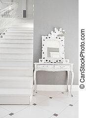 residência, branca, escadas