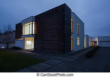 residência, noite, projetado