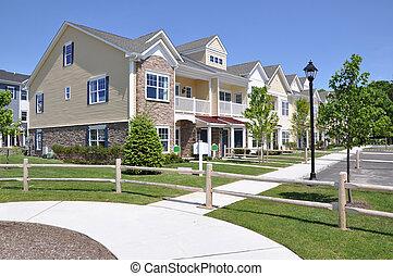 residências, suburbano, vizinhança