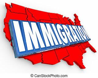 reside, carte, uni, mot, usa, immigration, légal, etats, reforming, 3d