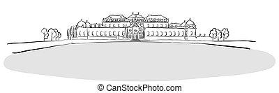 Residence Belvedere Vienna, Austria, Famous Landmark Sketch