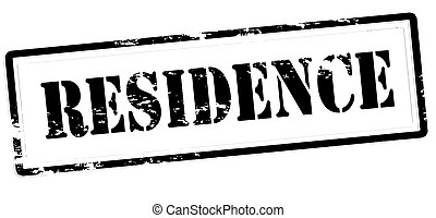 Residence - Stamp with word residence inside, vector...