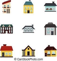 Residence icons set, flat style