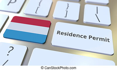 Residence Permit text and flag of Luxembourg on the buttons ...