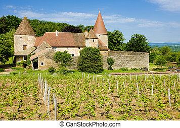 residencia lujosa, de, borgoña, nobles, francia