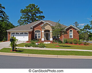residencial, único, história, tijolo, lar