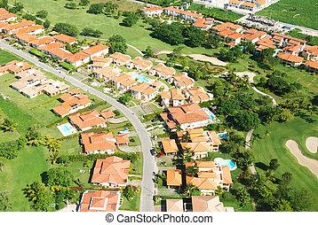 residencial, aéreo, distrito, vista